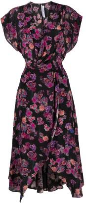 IRO Floral-Print Silk Wrap-Dress