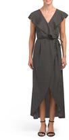 Juniors Ruffled Wrap Maxi Dress