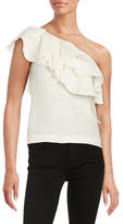 Rachel Zoe One-Shoulder Tiered Ruffle Top