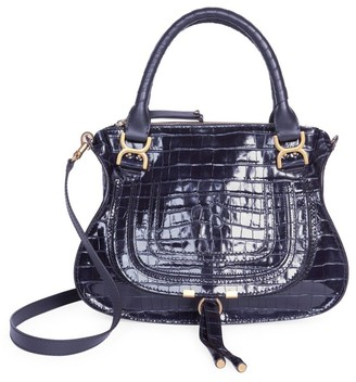 Chloé Medium Marcie Croc-Embossed Leather Satchel