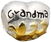 everbling jewelry Grandma 14K Gold Plated Authentic 925 Sterling Silver Bead Fits Pandora Chamilia Biagi Troll Charms Europen Style Bracelets