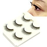 Eyelashes ,Baomabao 3Pairs Black Thick Long Cross False Eyelashes Makeup (Q3D021)
