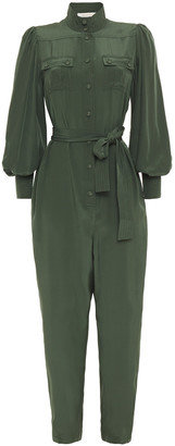 Zimmermann Espionage Belted Silk Crepe De Chine Jumpsuit