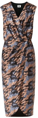 Diana Arno Laurel Sequin Wrap Dress in Grey and Bronze