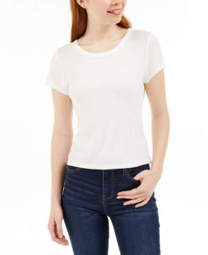 PINK ROSE Juniors' Lace-Trim T-Shirt