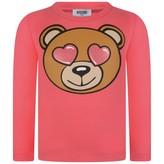 Moschino MoschinoGirls Pink Teddy Head Jersey Top