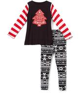 Beary Basics Red 'Happy New Year' Long-Sleeve Tee & Leggings - Toddler & Girls