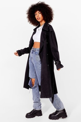 Nasty Gal Womens Long Time Comin' Denim Belted Trench Coat - Washed Black
