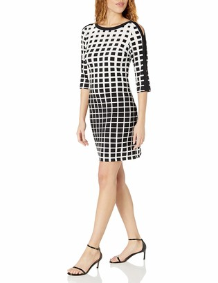 Sandra Darren Women's 1 Pc 3/4 Sleeve Printed Ity Dress