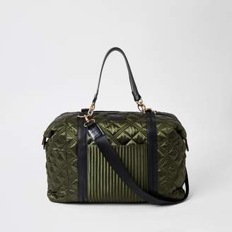 River Island Womens Khaki quilted weekend travel bag