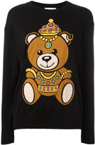 Moschino crowned bear intarsia jumper