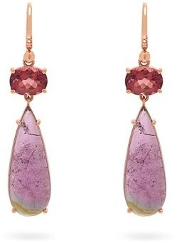Irene Neuwirth 18kt Rose-gold And Tourmaline Drop Earrings - Womens - Pink