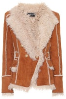 Balmain Fur-lined suede coat