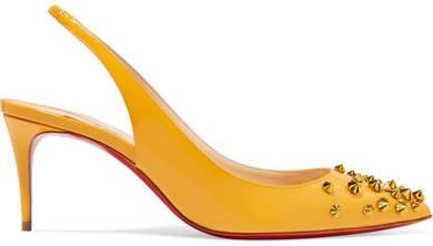 Christian Louboutin Drama 70 Studded Patent-leather Slingback Pumps - Yellow