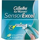 Gillette Sensor Excel Women's Razor Blade Refills, 10 Count, Womens Razors / Blades