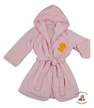 BlueberryShop Embroidered Luxurious Hooded Bathrobe/Dressing Gown, 1-2 Years, Pink