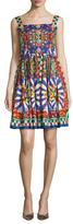 Dolce & Gabbana Printed Embellished Fit And Flare Dress