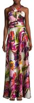 Theia Silk Print Halter Maxi Dress