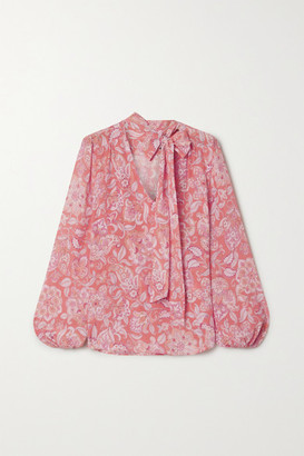 Rixo Moss Pussy-bow Printed Silk-crepe Blouse - Pink