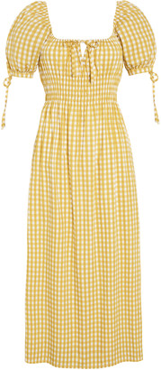 Faithfull The Brand Flora Mari Check Print Linen Midi Dress