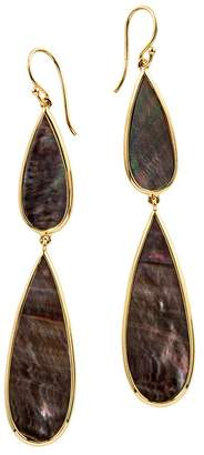 Ippolita 18K Yellow Gold Polished Rock Candy Black Shell Double Teardrop Earrings