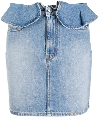 MSGM Volant-Detail Denim Skirt