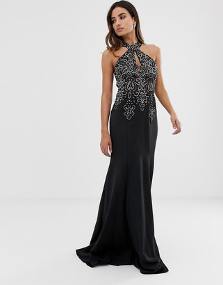 Jovani halterneck fitted maxi dress with embellished detail-Black