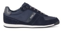 HUGO BOSS Low Top Trainers In Leather, Suede And Technical Fabric - Dark Blue