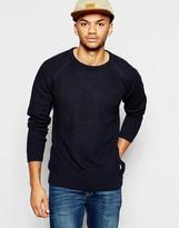 Jack & Jones Textured Knitted Jumper With Raglan Sleeves - Blue