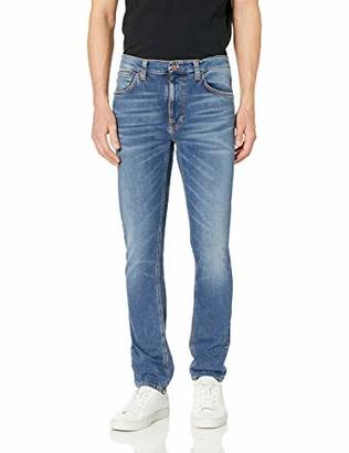 Nudie Jeans Men's Lean Dean Mid Blue Orange 34/36