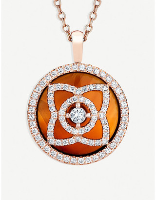 De Beers Women's Orange Enchanted Lotus 18ct Pink Gold, Diamond And Carnelian Reversible Pendant