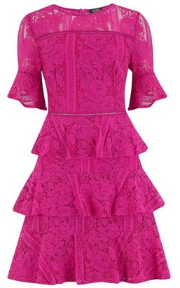 Dorothy Perkins Womens Girls On Film Pink Frill Detail Prom Dress, Pink