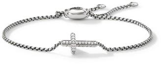 David Yurman Petite Pave Sterling Silver & Pave Diamond Sideways Cross Bracelet