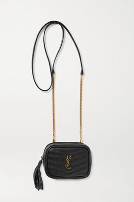 Saint Laurent Lou Baby Quilted Textured-leather Shoulder Bag - Black