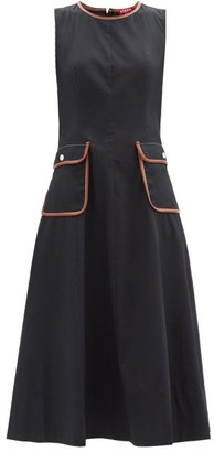 STAUD Bait Faux Leather-trimmed Cotton-blend Dress - Black