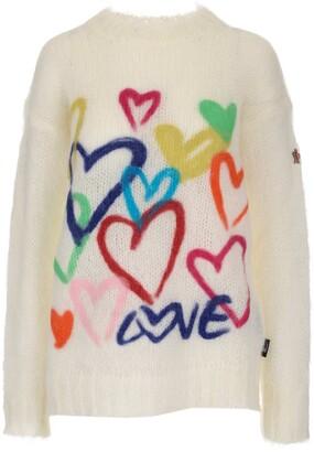 MONCLER GRENOBLE Heart Jacquard Knit Sweater