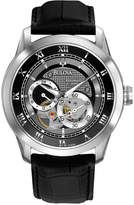 Bulova Men's Automatic Mechanical Black Leather Strap Watch 42mm 96A135