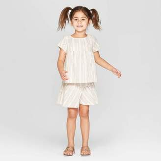 Off-White Art Class Toddler Girls' Striped Top and Bottom Set - art class