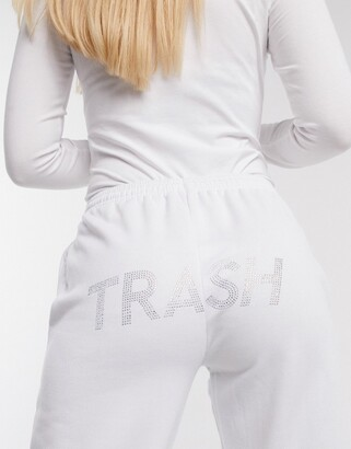 Skinnydip x Jade Thirlwall joggers with trash diamante slogan co-ord