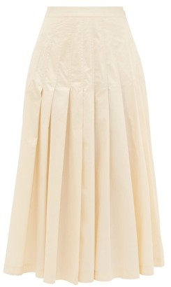 Three Graces London Elisha Pleated Cotton Skirt - Cream