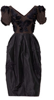 Marc Jacobs Silk Taffeta Embroidered V-Neck Dress
