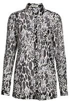 Saint Laurent Silk-Blend Leopard Jacquard Blouse