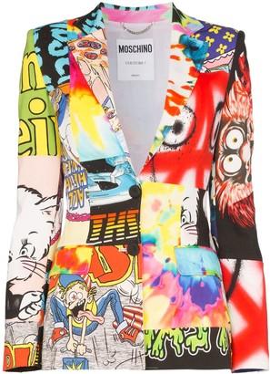 Moschino Cartoon-print patchwork blazer
