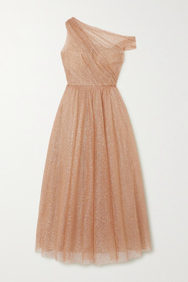 Monique Lhuillier One-shoulder Glittered Tulle Gown - Gold