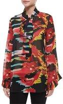 Just Cavalli Neck-Tie Printed Blouse