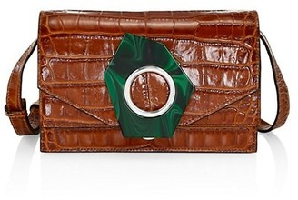 Ganni Croc-Embossed Leather Crossbody Bag