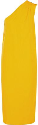 Max Mara One-shoulder Gathered Cotton-poplin Midi Dress