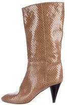 Loeffler Randall Embossed Patent Leather Mid-Calf Boots