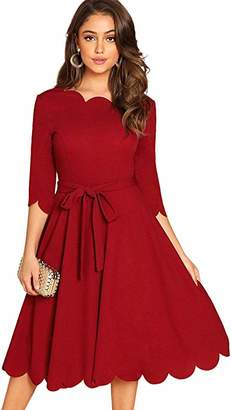 Milumia Women's 3/4 Sleeve Belted Knee Length Fit & Flare Scallop Party Dress