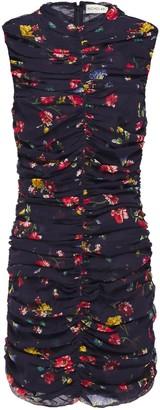 Nicholas Ruched Floral-print Silk Mini Dress